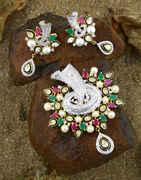 Multi Colour Adorable Traditional Pendant Set For Women Gold Diamonds Pendant Set For Women