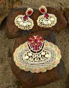 Gold Tone Designer Diamond Pendant Set Traditional Jewellery Necklace Pendant Set For Women