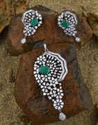 Green Colour Diamond Pendant Set|Pendant Set For Women Latest Design For Girls