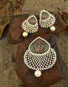 Gold Finish Studded American Diamonds Stone|Traditional Neck Pendant Set For Women