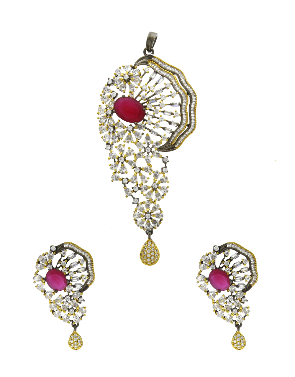 Pink Colour Traditional Pendant Set|Chain Pendant Set For Girls