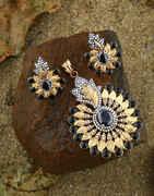 Black Colour Traditional Pendant Set For Women|Diamond Pendant Set For Girls|Fancy Necklace