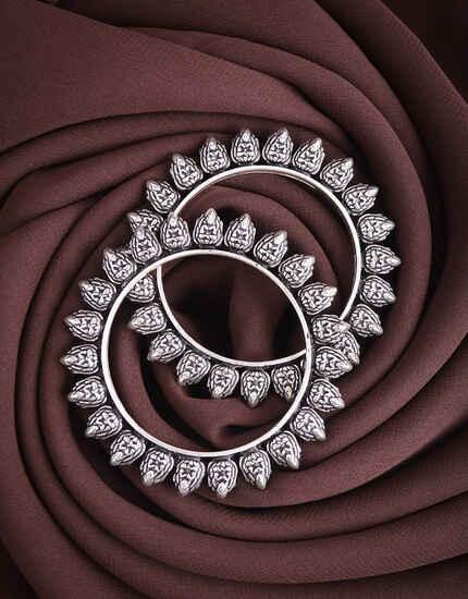 Silver Tone Oxidized Bangles Set|Traditional Kada Bangles Set For Women|Silver Bracelets For Women