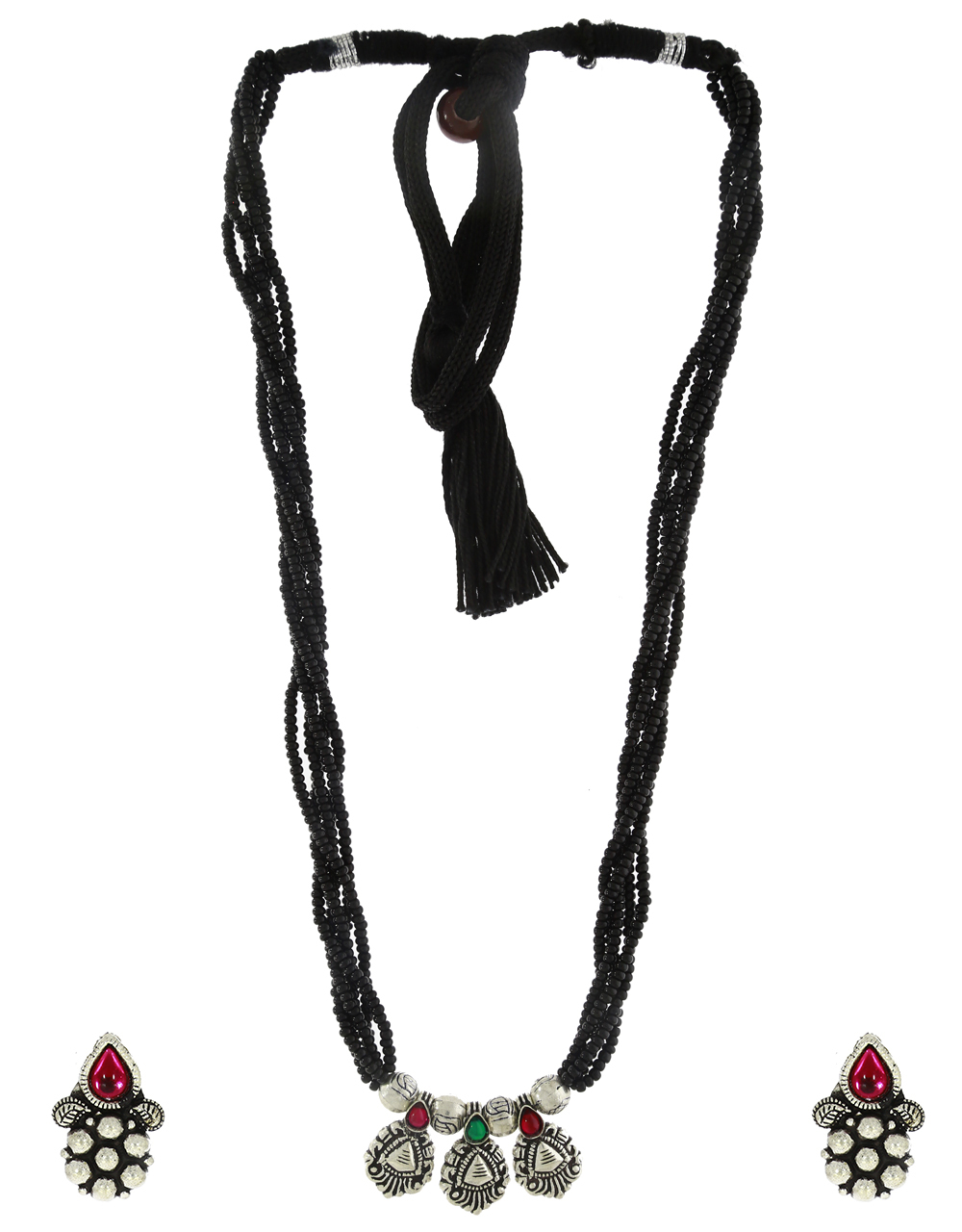 Red-Green Colour Oxidized Mangalsutra Set|Silver jewellery Triabl Necklace Set For Women