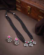 Red-Green Oxidized Mangalsutra Set For Women Silver Jewellery Temple Jewellery For Women