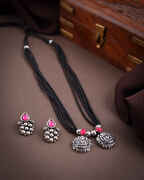 Oxidized Finish Traditional Mangalsutra Set For Women|Silver jewellery For Women