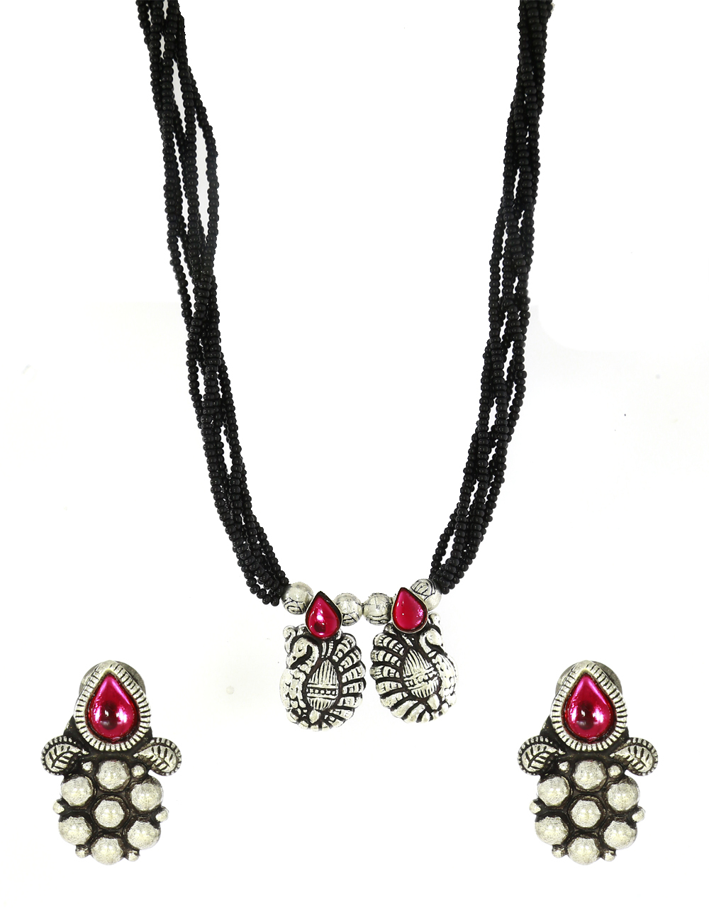 Peacock Styled Oxidized Mangalsutra Set|Silver Jewellery|Traditional Mangalsutra Set For Women