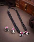 Pink Colour Oxidized Mangalsutra Set|Navaratri Jewellery For Women|Triabl Necklace|Temple Jewellery