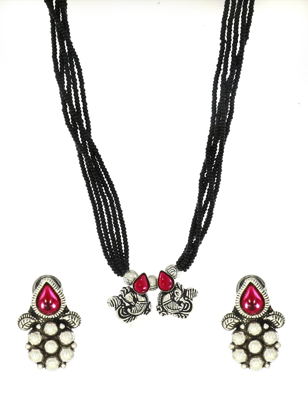 Pink Colour Traditional Mangalsutra For Women|Silver Jewellery|Temple Mangalsutra