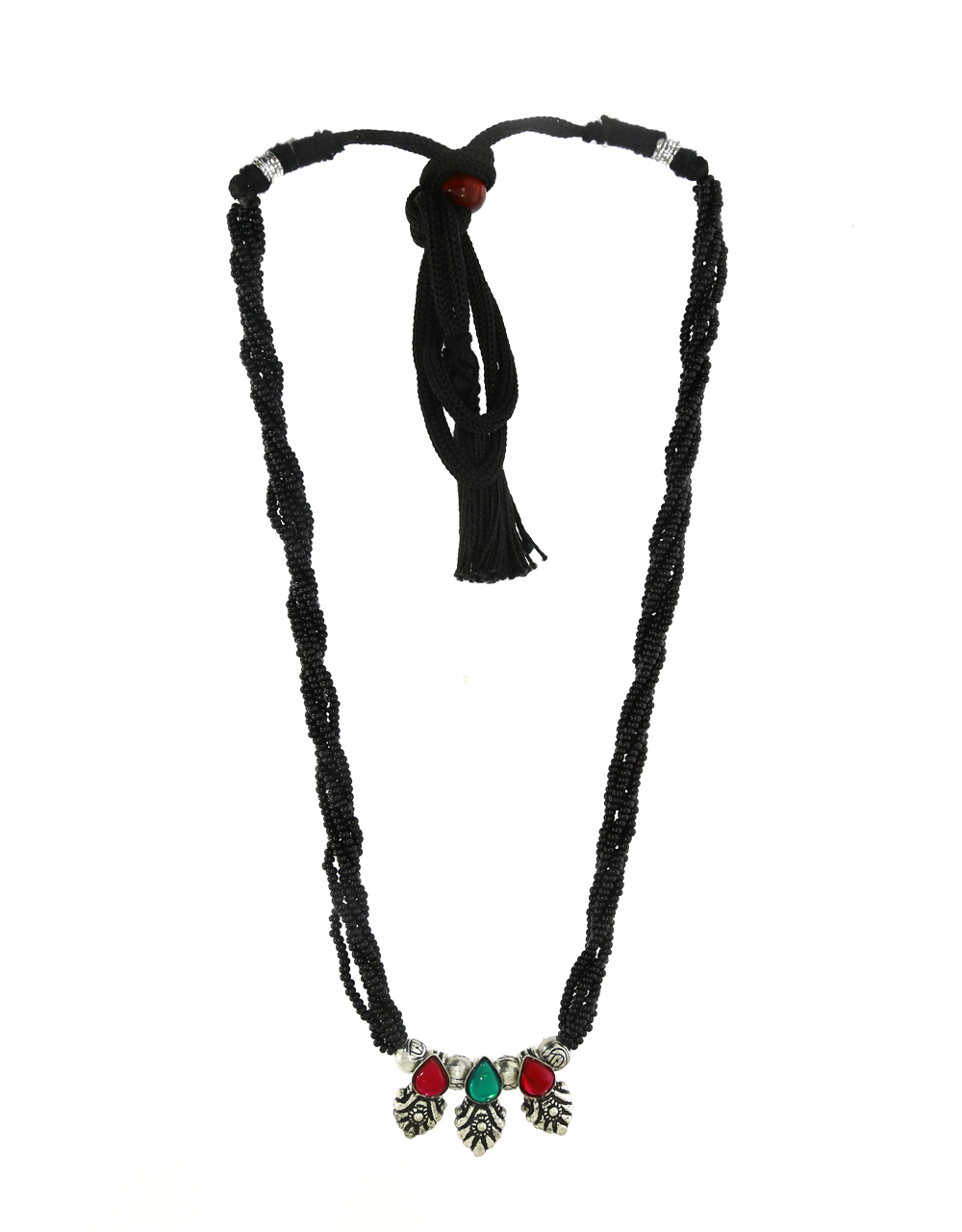 Red-Green Colour Traditional Mangalsutra Set|Oxidized Necklace|Tribal Mangalsutra For Women