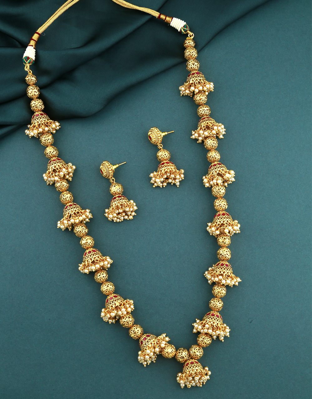 Gold Finish Adorable jhumka Styled Traditional Necklace Set For Women