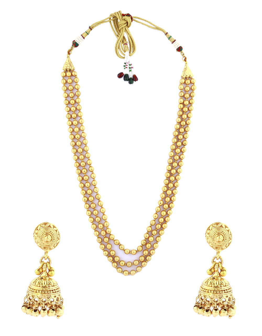 Gold Finish Beads Necklace|Multiple Layers Necklace Set For Women|Maharashtrian jewellery For Girls