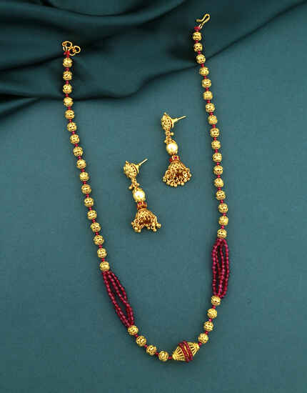 Pink Colour Adorable Moti Necklace|Traditional Long Moti Mala Necklace Set For Women
