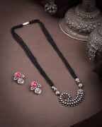 Oxidized Tone Mangalsutra Set For Stylish Women Traditional Long Mangalsutra  Black Beaded Chain Adorable Pendant Set
