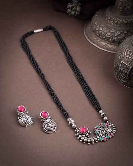 Pink-Green Colour Silver Mangalsutra Set|Traditional Mangalsutra Set For Women|Oxidized Long Mangalsutra For Women