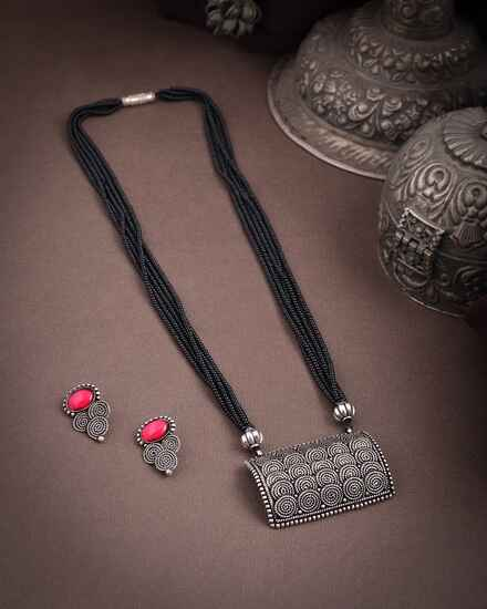 Square Shape Silver Mangalsutra Set|Long Mangalsutra For Women|Traditional Oxidized Mangalsutra For Women