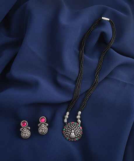 Oxidized Silver Tone Mangalsutra For Women |Traditional Long Mangalsutra Set|Oxidized Long Black Beaded rious Mangalsutra Set