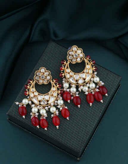Gold Finish Designer Long Earrings|Traditional Chandbali Earrings For Stylish Women