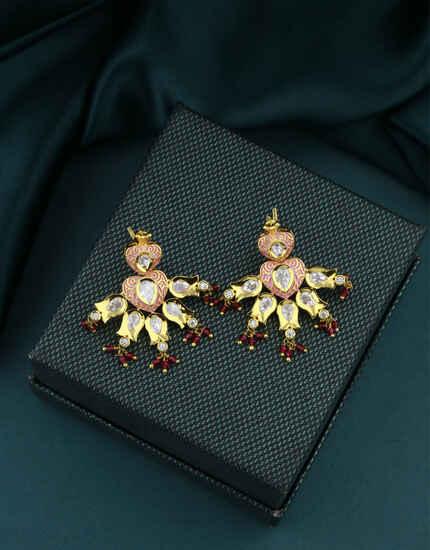 Antique Gold Finish Adorable Kundan Earrings|Traditional Hoop Earrings|Bridal Earrings For Women