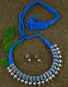 Anuradha Art Blue-Sky Colour Oxidized Thread Necklace For Women