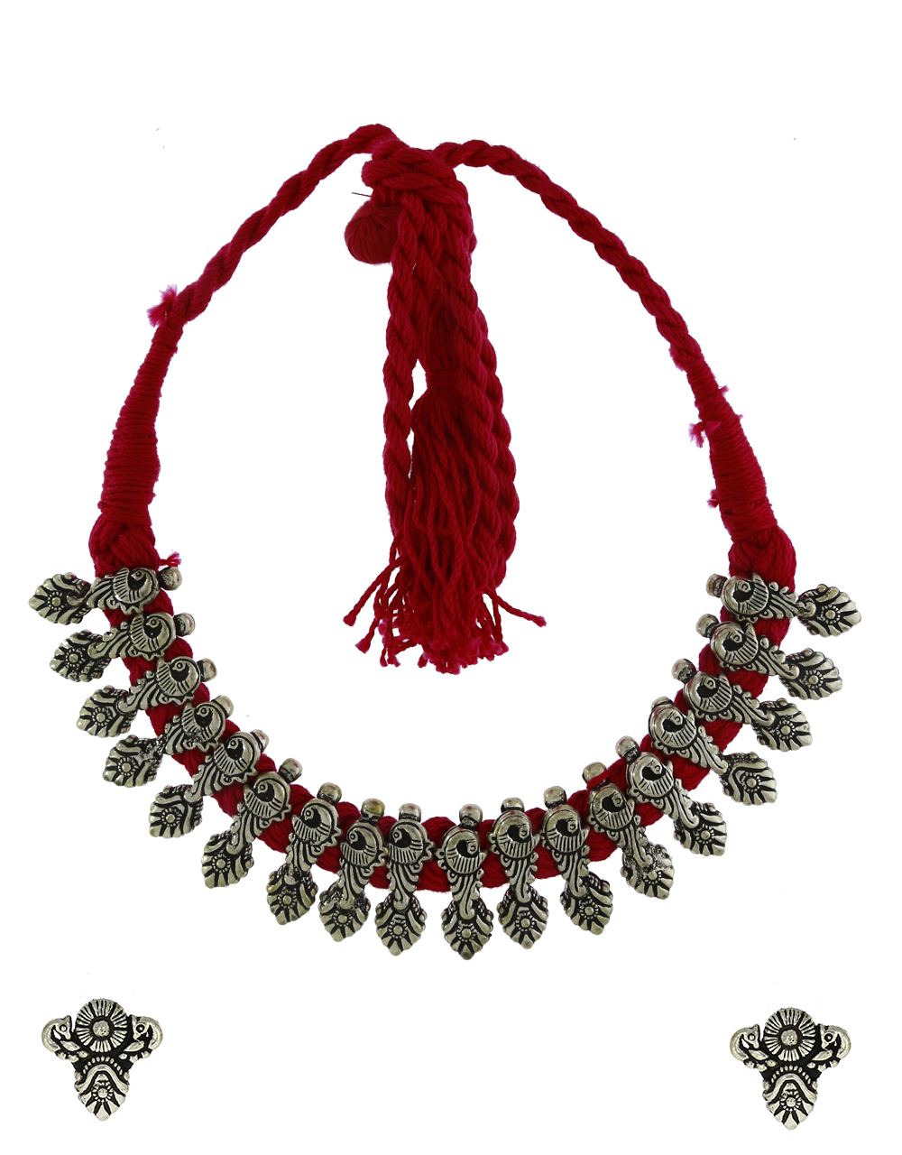 Rani Pink Colour Designer Thread Necklace Traditional Choker Necklace