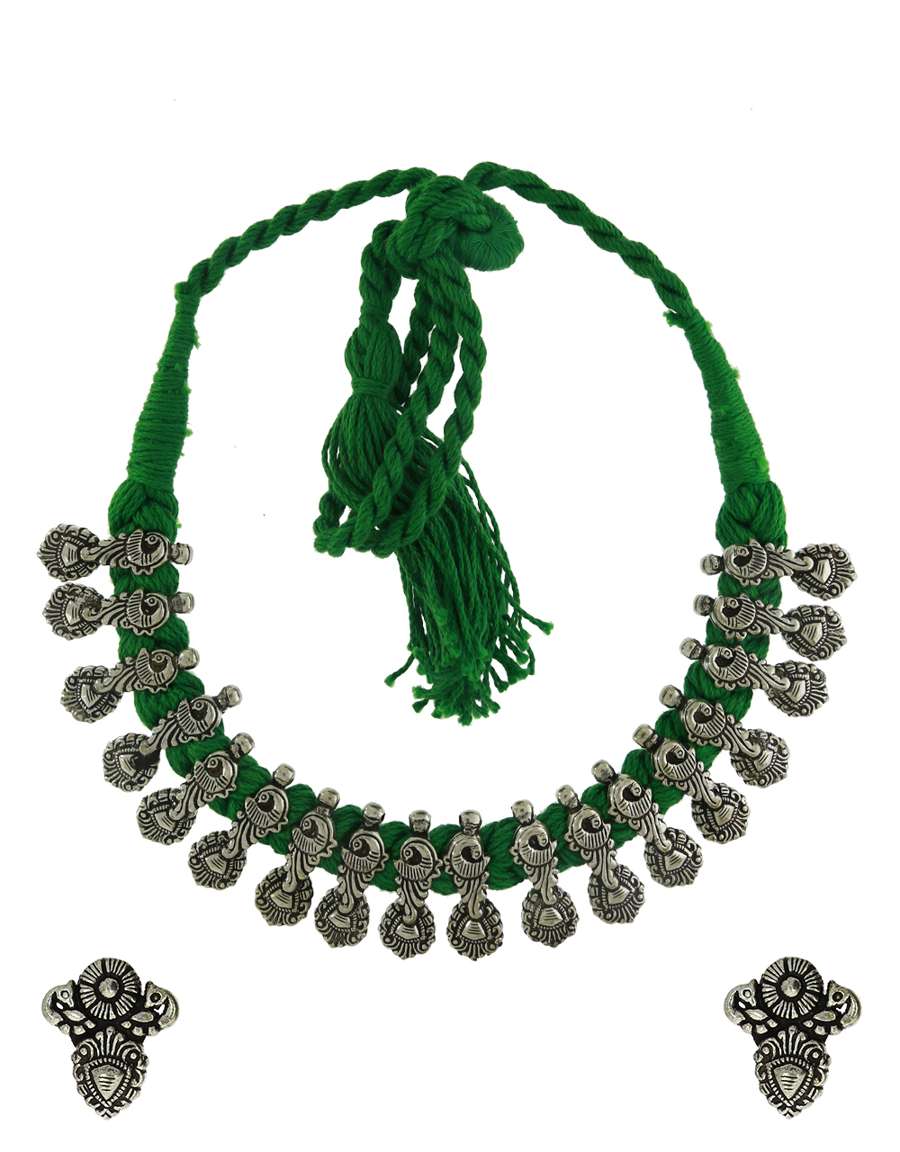 Parrot Green Colour Traditional Choker Necklace For Women