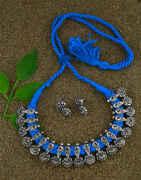 Anuradha Art Sky-Blue Colour Traditional Choker Necklace