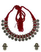 Anuradha Art Red Colour Adorable Thread Necklace|Oxidized Necklace For Women