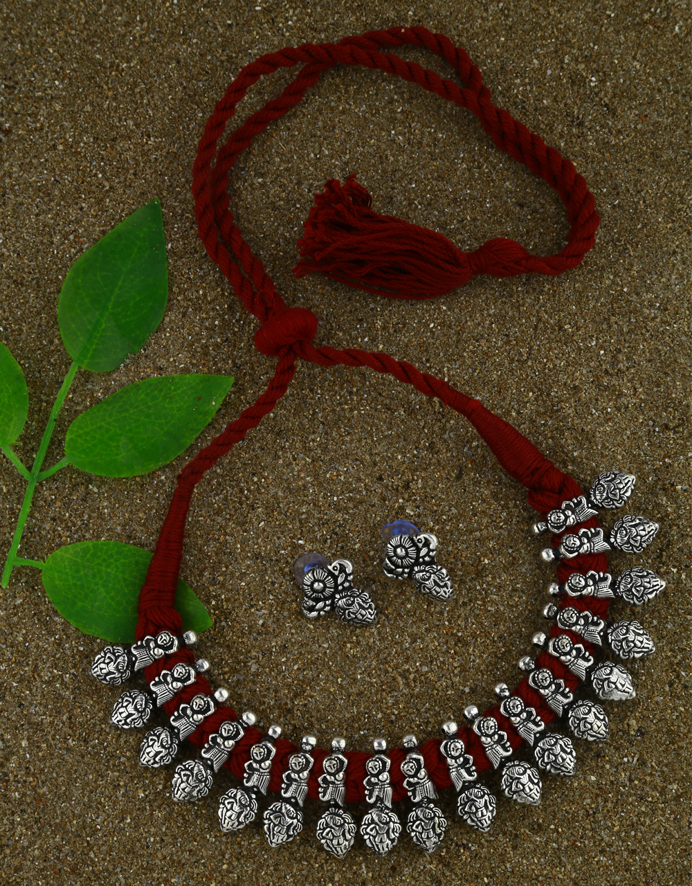 Anuradha Art Maroon Colour Traditional Choker Necklace Set For Women
