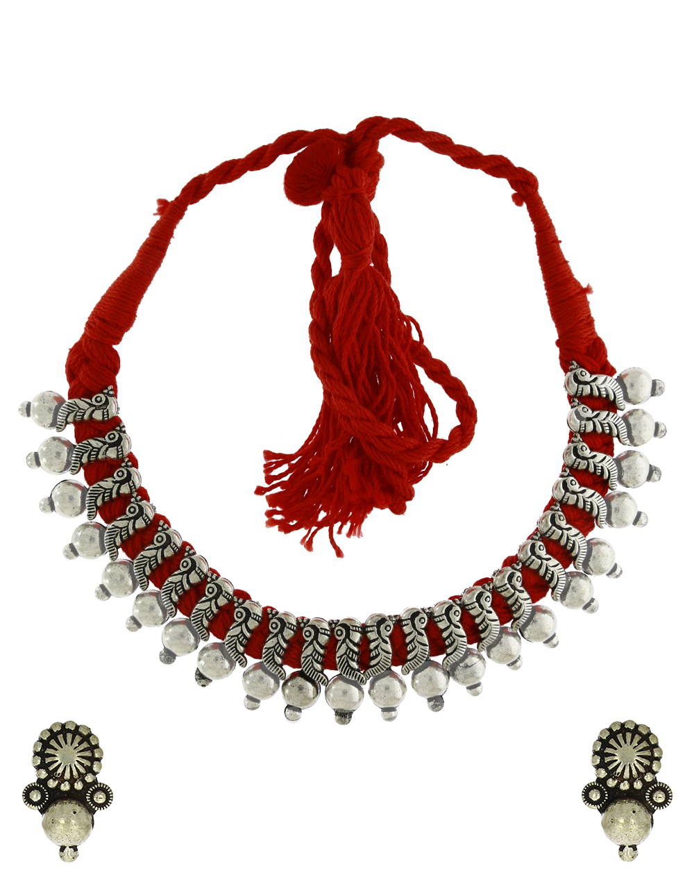 Anuradha Art Red Colour Designer Thread Jewellery Necklace For Women