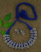 Anuradha Art Blue Colour Traditional Thread Necklace Choker Necklace Set For Women