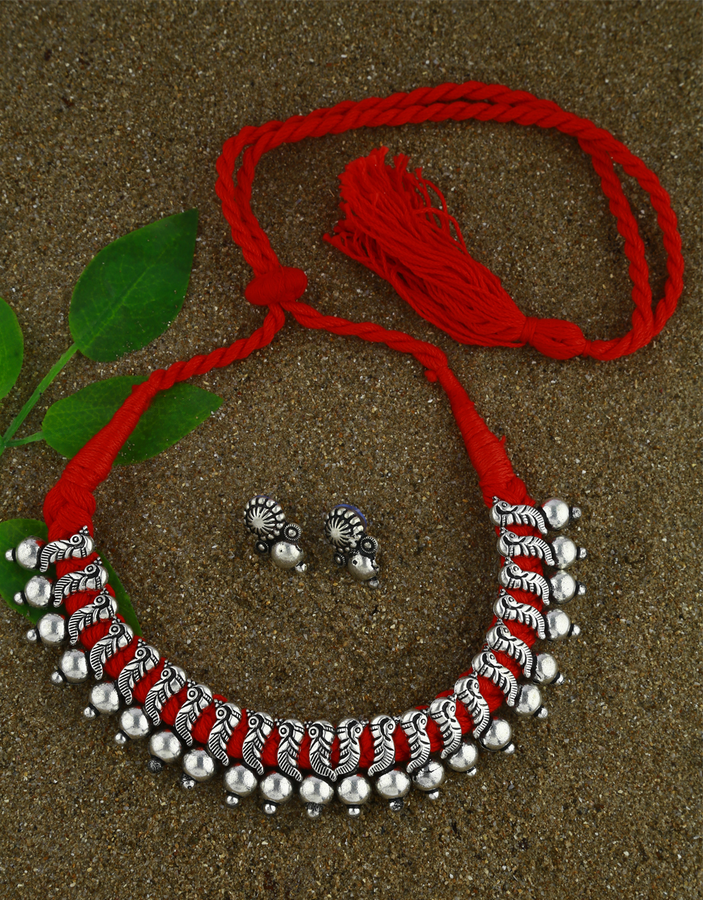 Anuradha Art Oxidized Finish Traditional Red Colour Thread jewellery For Women Navratri Jewellery For Women