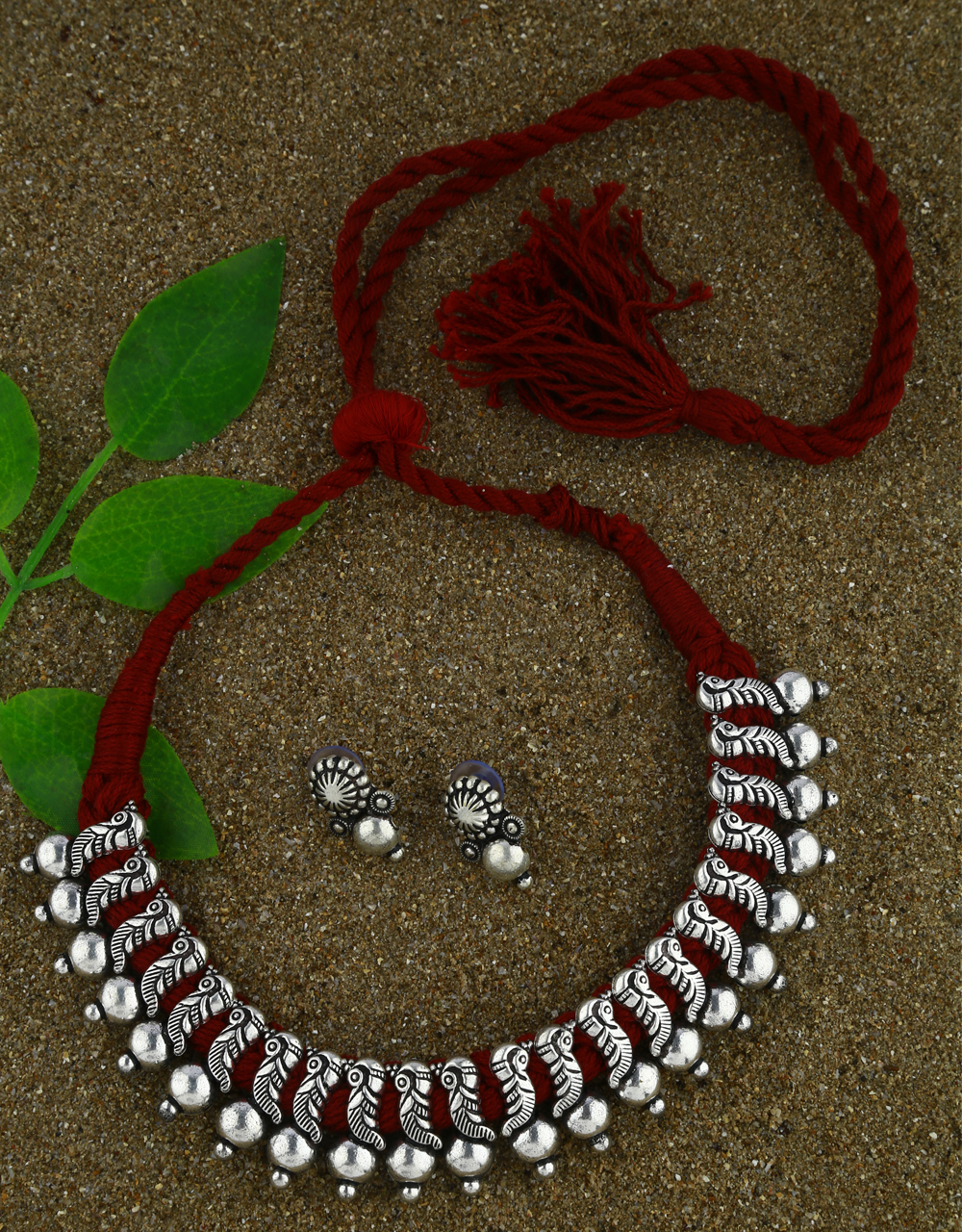 Anuradha Art Maroon Colour Oxidized Necklace Set  Traditional Jewellery For Women