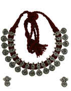 Anuradha Art Maroon Colour Traditional Thread Necklace For Women