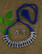 Anuradha Art Navya Blue Colour Designer Silver Oxidised Necklace For Women