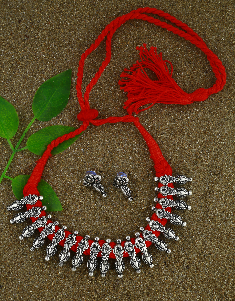 Anuradha Art Red Colour Adorable Fancy Thread Jewellery For Women Oxidized Necklace For Women