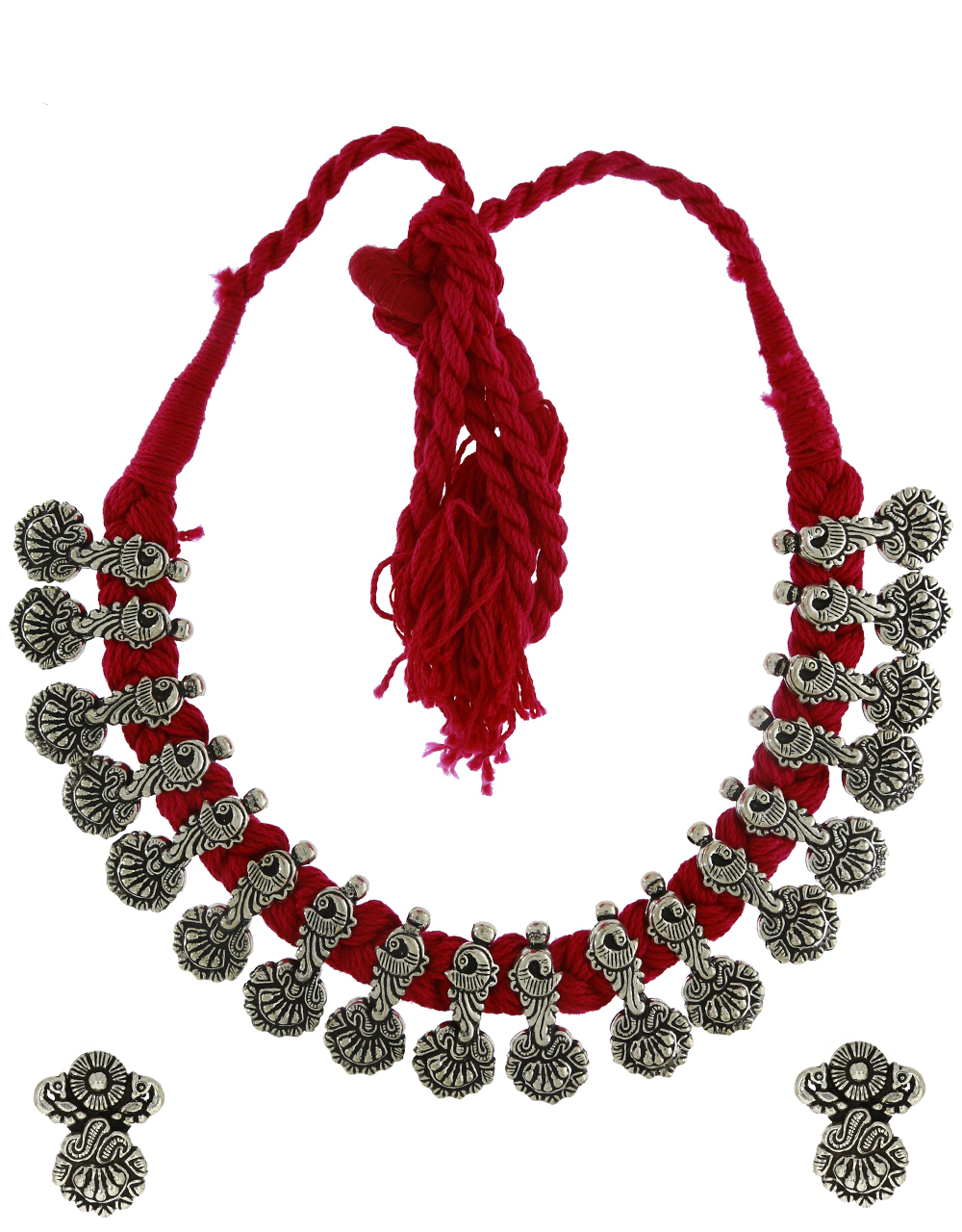 Anuradha Art Oxidized Finish Designer Thread Necklace For Women|Silver Necklace For Stylish Women