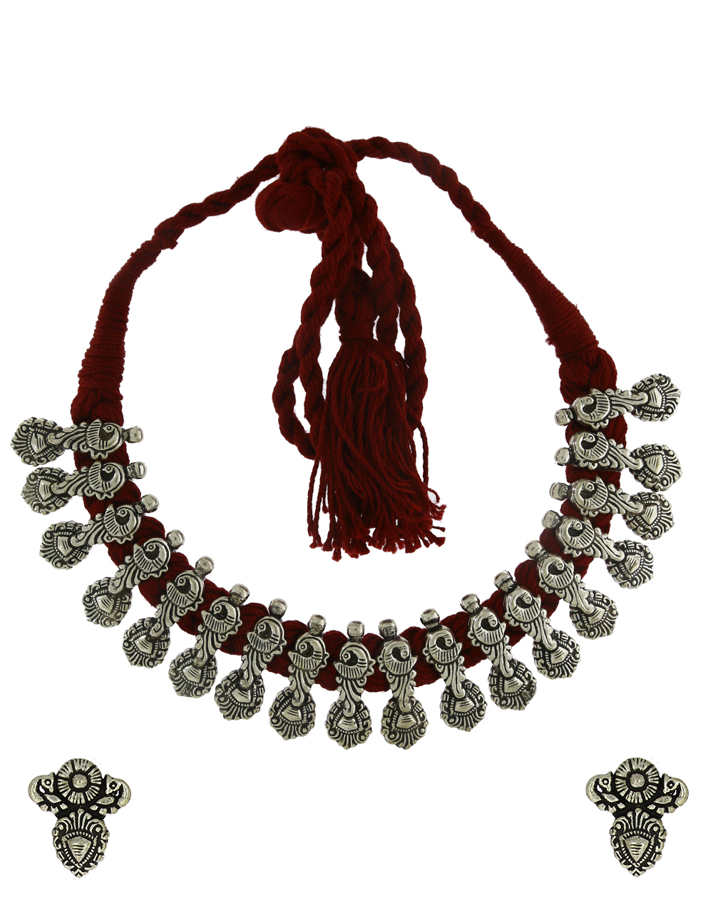 Anuradha Art Maroon Colour Traditional Choker Thread Necklace|Tribal Necklace