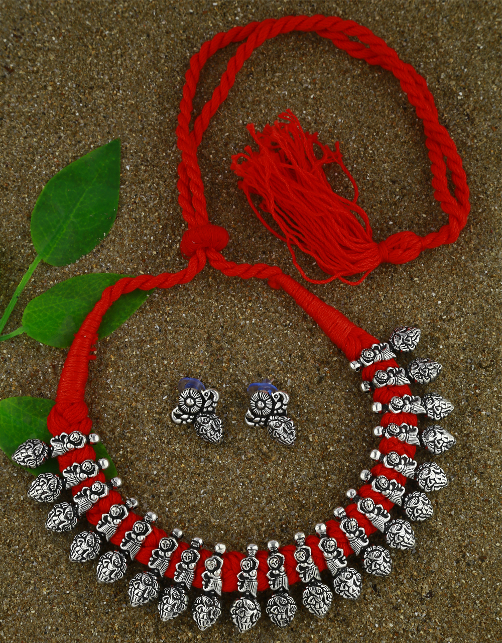 Anuradha Art Oxidized Temple Jewellery For Stylish Girls|Silver Long Necklace Set