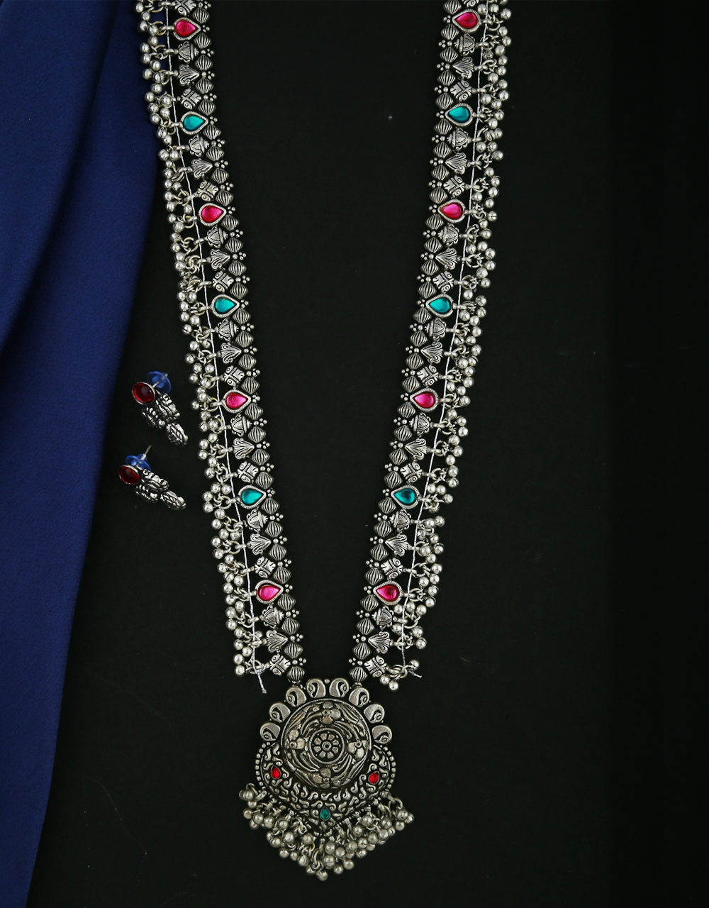 Anuradha Art Silver Oxidized Long Necklace Set For Women|Temple Jewellery For Women|Traditional Necklace Set