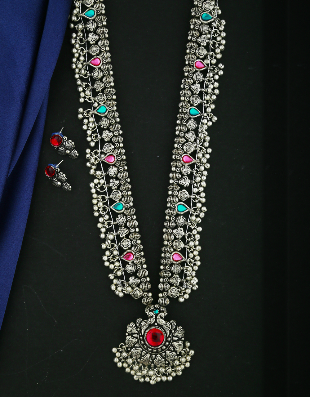 Anuradha Art Oxidized Silver Finish Adorable Long Necklace Set |Traditional Long Necklace Set For Women