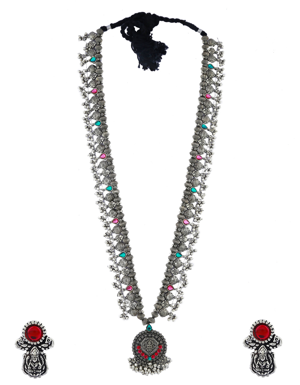 Anuradha Art Silver Tone Traditional Long Necklace Set For Women|Navratri Jewellery, Necklace Set For Women