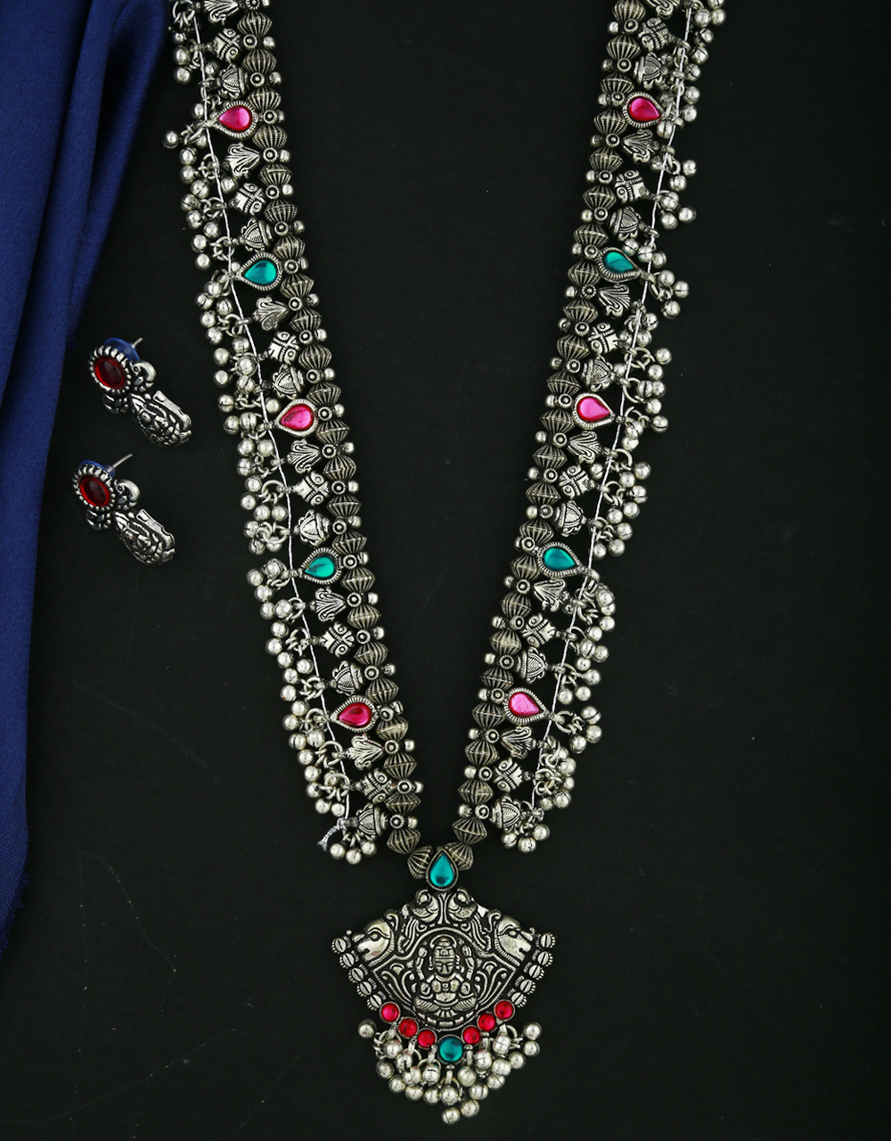 Anuradha Art Red-Green Colour Traditional Long Necklace Set For Women|Tribal Jewellery|Nvarati Garbha Necklace Set