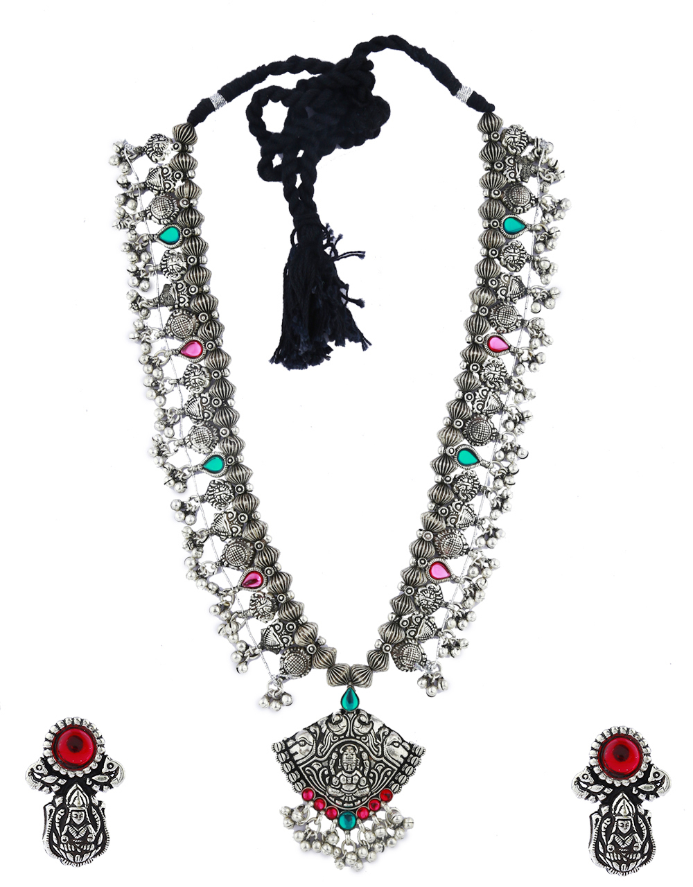 Anuradha Art Oxidized Silver Finish Long Necklace Set For Women|Traditional Long Necklace For Women|Navratri Necklace
