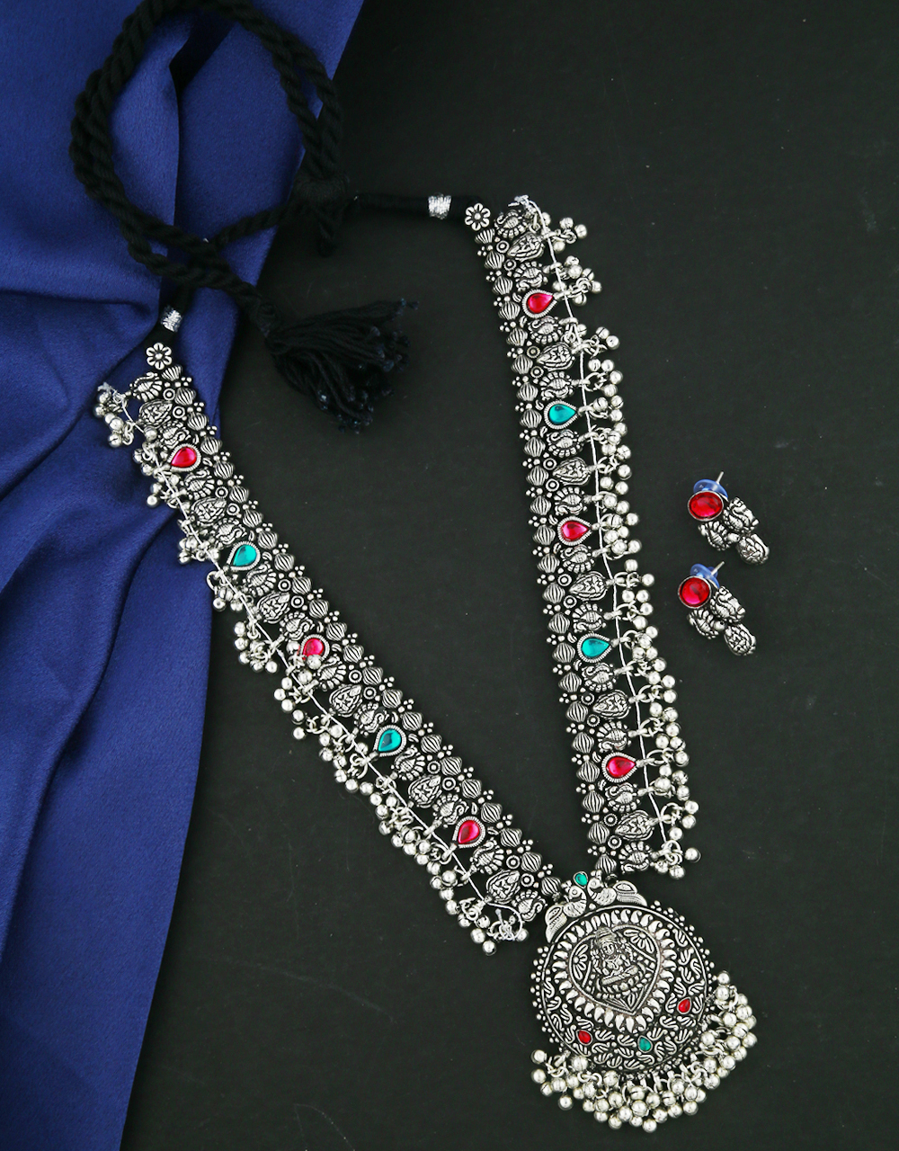 Anuradha Art Oxidized Tone Styled With Temple Look Long Necklace Set|Silver Jewellery|Tribal Long Necklace Set
