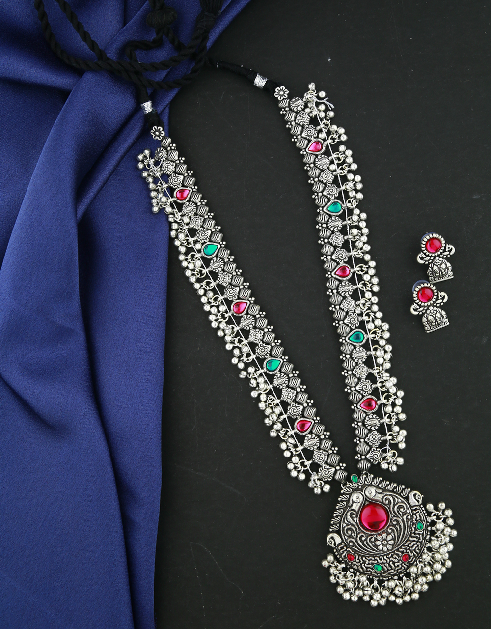 Anuradha Art Peacock Inspired Traditional Long Necklace Set |Silver Tone Oxidized Necklace Set For Women & Girls