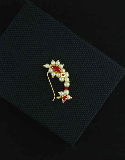 Fancy Pink Colour Traditional Maharashtrian Nath|Nose Pin|Non-Pressing Nath|Stud Nose Pin For Women & Girls {Non-Pressing}