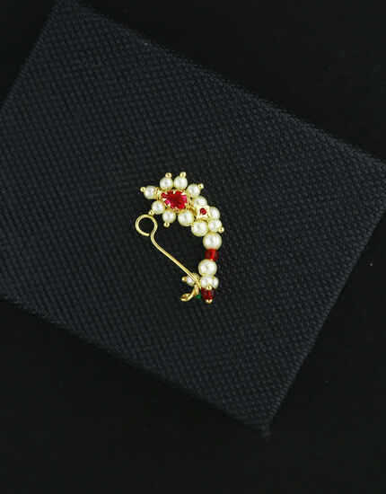 Adorable Gold Tone Moti Nath|Maharashtrian Nath|Marathi Wedding Nath,Nose Pin,Ring For Nose|Traditional Nath For Women {Pressing Nath}