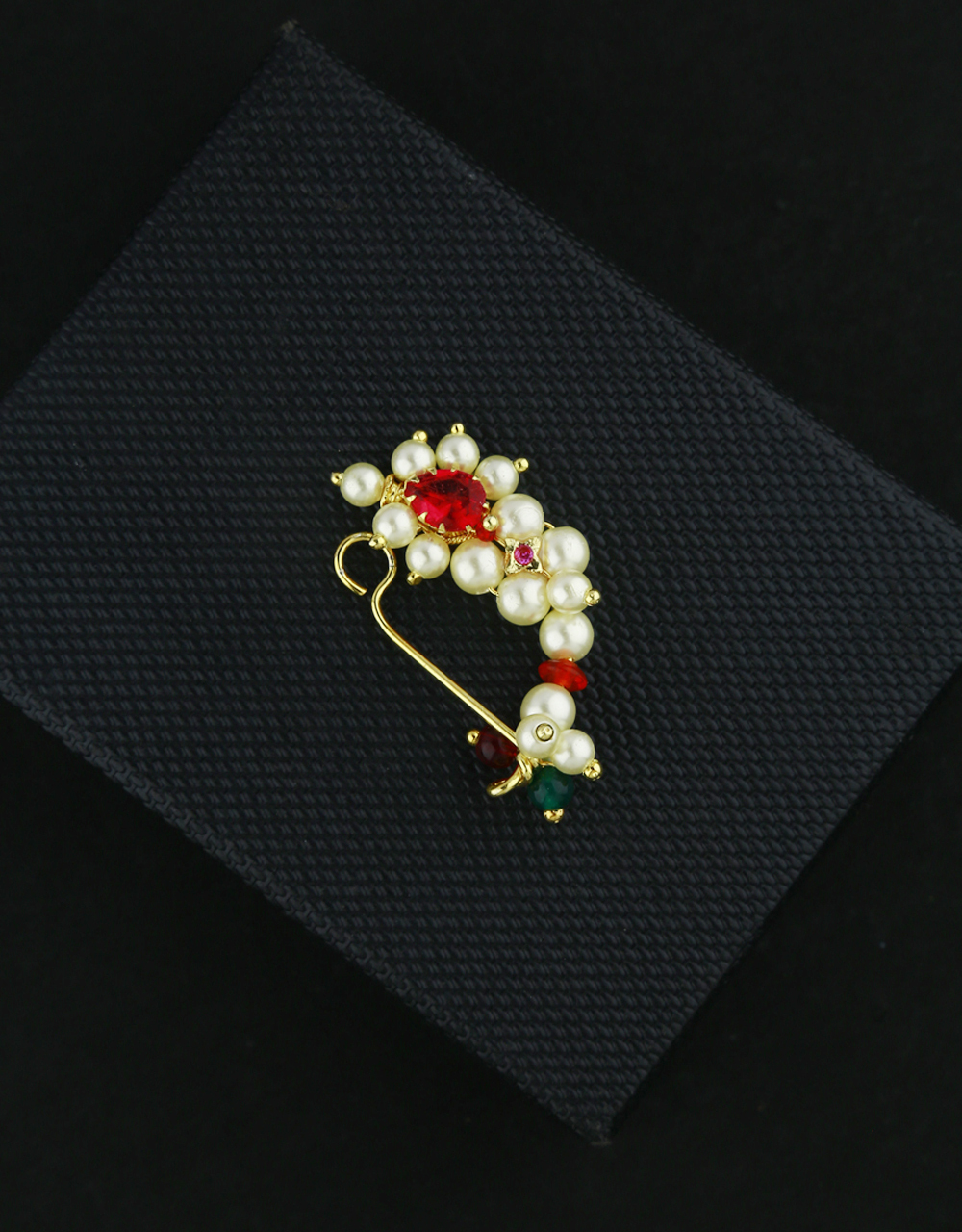 Classy Golden Colour Styled With Moti Nath Maharashtrian Nose Pin Pressing Nath Clip-On Nose Ring  Traditional Jewellery For Women {Clip-On Nath}