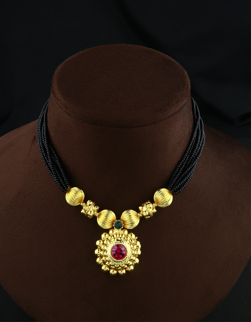 Classy Pink Colour Traditional Thushi Mangalsutra|Kolhaouri Thushi Jewellery Set For Women